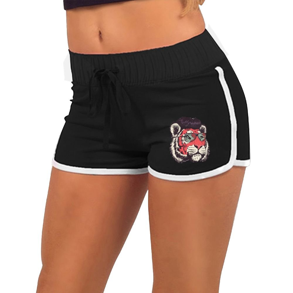 Women's Sexy Shorts Red Face Lion with Glasses Fashion Beach Hot Shorts