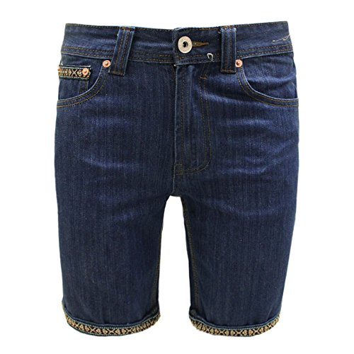 Bellfield Men's Designer Denim Aztec Strip Roll Up Summer Jeans Trousers Shorts 32