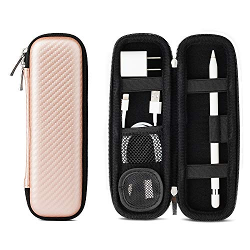 Apple Pencil Case Holder, Apple Pen Accessories,1 Pouch for Pencil Tips Elastic Strap Sleeve Pocket Protective Carrying Case for USB Cable Earphone,Samsung Stylus iPad Pro Pen Pencil Holder Rose Gold (Ipad Charger Carrying Case)