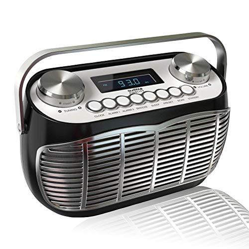 Detroit, FM AM Radio Alarm Clock Bedside Mains Powered Or Battery FM Retro Radio with LCD Display Clock Radio (Black) (Best Clock Radio Uk)
