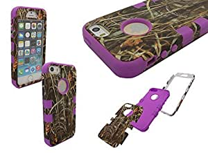 iPhone 5 Shockproof Case, Nue Design Cases TM High Impact Rugged Hybrid GRASS PATTERN Case for iPhone 5/5s - PURPLE wangjiang maoyi