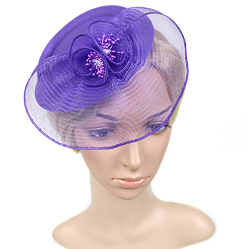 Chiyou Fascinators Womens Pillbox Flower Derby Hat for Cocktail Ball Wedding Church Tea Party by Chiyou (Image #2)