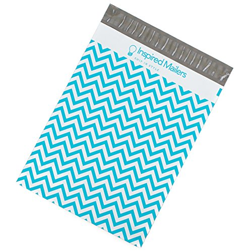 Poly Mailers 10x13 - Blue Chevron Print - Premium Unpadded Shipping Envelopes by Inspired Mailers – Pack of 100