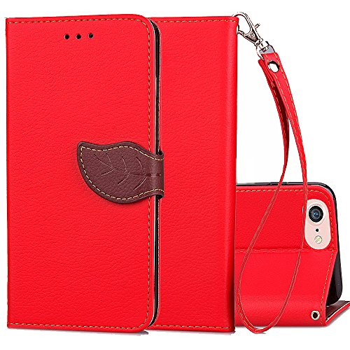 Cheap iPhone 6 Plus Wallet Case,iPhone 6s+ Leather Case,Kudex Ultra Thin Card Holder&Detachable Strap Magnetic Leaf Closure Folio Shockproof Stand Protective Vintage Purse Shell Case For Men/Women (Red)
