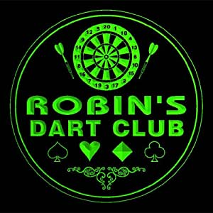 4x ccts0376-g ROBIN'S Dart Club Game Room Bar Beer 3D Engraved Drink Coasters