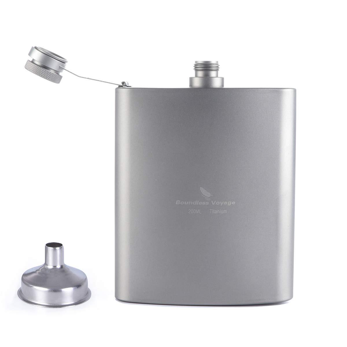 Zxmy Titanium Pocket Hip Flask 7 oz Flagon Camping Portable Alcohol Drink Bottle