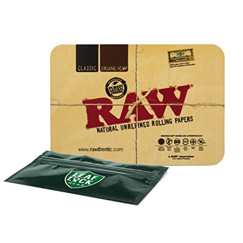 Top Rolling Tray - RAW Magnetic Mini Rolling Tray Cover with Leaf Lock Gear Smell Proof Pouch
