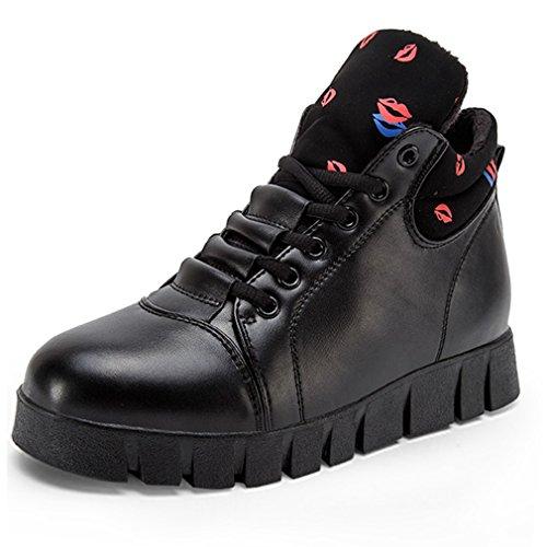 Hoxekle Femmes Haut Haut Plateforme Baskets Mode Caché Talon Sport Décontracté Augmenté Hauteur Wedge Chaussures Noir