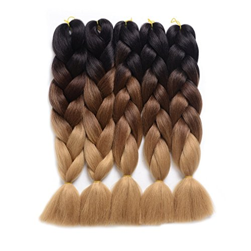 (WIGENIUS Jumbo Braids Hair Extensions Black/Dark Brown/Light Brown Color 5 PCS/Lot 24 Inches 100g/pc Kanekalon Box Twist Braiding(5pcs,Black/Dark Brown/Light Brown))