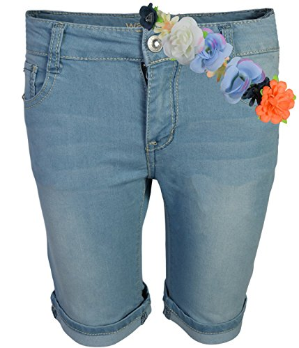 WallFlower Girls Bermuda Soft Stretch Denim Shorts, Light Wash w/Headband, Size 8