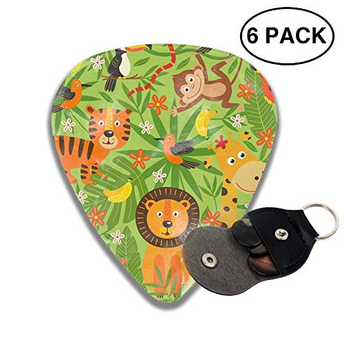 Cute Pattern With Jungle Animals Guitar Pick 3D Printed 6-pcs Thin, Celluloid, Heavy Gauges For Musician ()