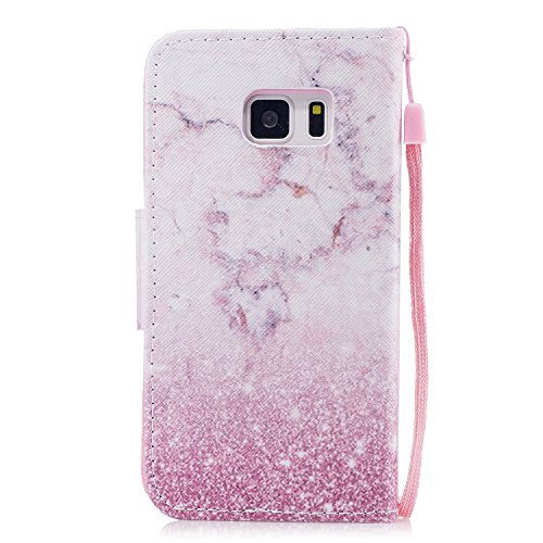 EUWLY Leather Wallet Case for Samsung Galaxy S7 Edge,Ultra Thin Colorful Butterfly Flower Tree Animal Embossed Pu Leather Case Cover with Hand Strap for Samsung Galaxy S7 Edge + 1 x Stylus Pen - Black Pink Marble