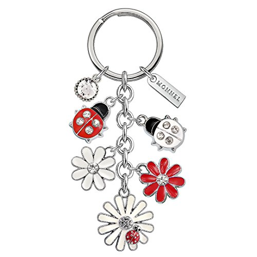 Monnel Brand New Red White Ladybug Heart Keychain with Velvet Bag Z432