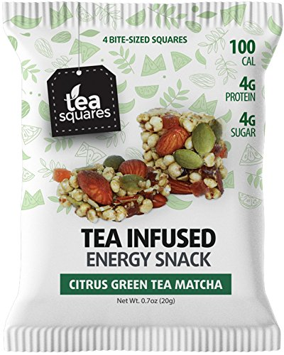 Superfood Energy Bar (Citrus Green Tea Matcha - 12 count) - Focus and Energy - Caffeinated - Organic Tea - Gluten Free - Vegan - Snack and Protein Bar - Tea Squares