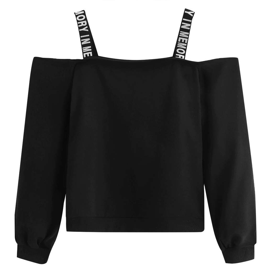 Ultramall Tops Fashion Women Long Sleeve Sweatshirt Letter Print Camis Pullover Top Blouse