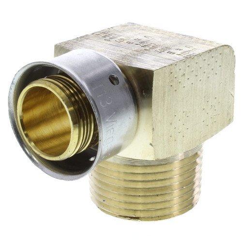 Zero Lead Bronze 3/4inch PEX Press x 3/4inch M NPT Elbow whit Attached Sleeve