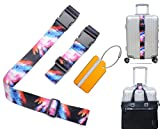 Luggage Straps Add A Bag Strap Heavy Duty Adjustable Suitcase Belts Travel Tags Label Accessories(Fireworks color)
