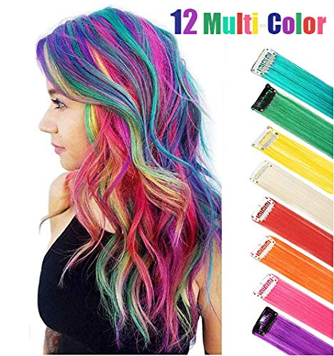 (12 Multi-Colors Hair Party Highlight Synthetic Hairpiece Rainbow Hair Extension for Kids Girls Women 22 Inch)