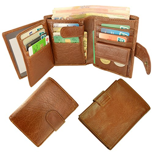 Leather Wallet for Men or Women RFID Blocking Card Holder Coin Purse Trifold Wallet