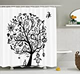Halloween Decorations Shower Curtain Set By Ambesonne, Sketch Style Halloween Tree With Spooky Decor Objects And Wicked Witch On Broom, Bathroom Accessories, 69W X 70L Inches, Black White