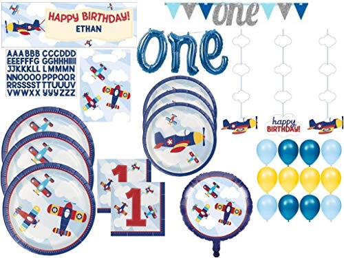 Lil' Flyer Airplane 1st Birthday Party Supply Pack - Tableware Includes Plates, Napkins and Favor Bags for 24 Guests - Banners, Danglers and Balloon Decorations (123 -