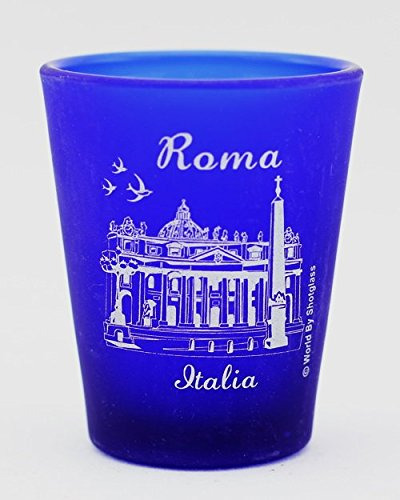 Frosted Imprinted Glass - Rome Italy Vatican Cobalt Blue Frosted Shot Glass