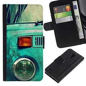Protector de cuero de la PU de la cubierta del estilo de la carpeta del tirón BY RAYDREAMMM - Samsung Galaxy S4 IV I9500 - Azul Hippy Van