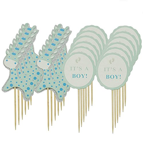 PROPARTY Blue Giraffe It Is A Boy Baby Shower Cake Cupcake Toppers Picks for Party Decorations Supplies 24 PCS By