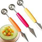 #9: Merssavo Watermelon Fruit Ball Maker Scoop Spoon Dig Carving Knife Cake Decor Tool Set