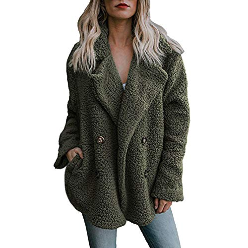 Manteau Casual Femme Hiver Manches Longues Chaud Polaire Parka Outwear Manteau Veste Casual Couleur Unie Outercoat BaZhaHei Arme Verte