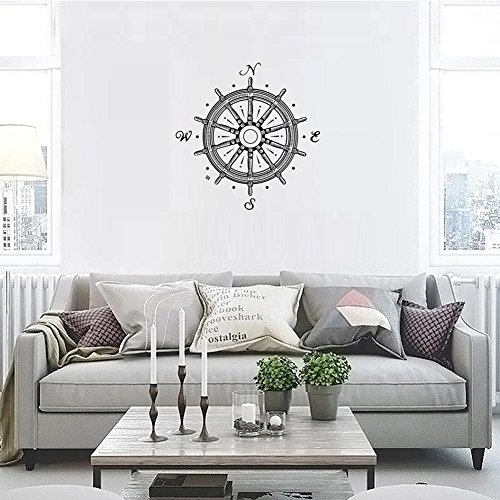 "BIBITIME Creative Ship Wheel Nautical Compass Rose Wall Decals Navigate Ocean Sea Vinyl Decal Stickers Living Room Bedroom Home Art Murals,22.83"" x 23.22"""