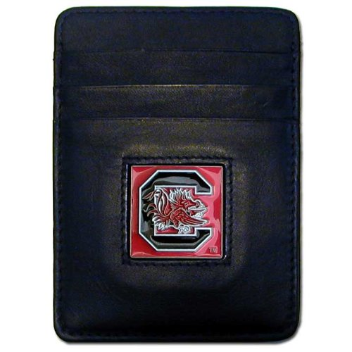 NCAA South Carolina Fighting Gamecocks Leather Money Clip/Cardholder Wallet