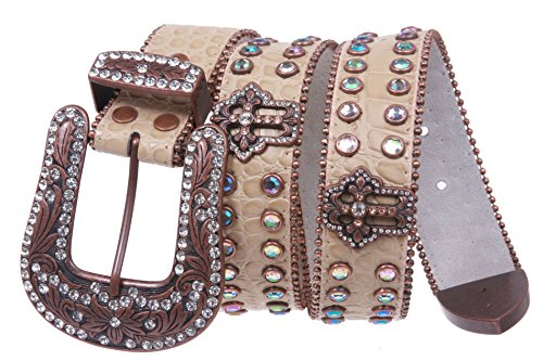 (Western Snap on Cowgirl Alligator Rhinestone Cross Concho Leather Belt Size: M/L - 38 Color: Beige)