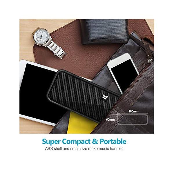Enceinte Bluetooth 5.0 Portable, Axloie Macaron Haut-Parleur sans Fil HiFi Stéréo avec Microphone Mains Libres Entrée AUX/Clé USB/Carte TF 10 Heures Autonomie pour iOS Android Tablettes etc –Noir 5