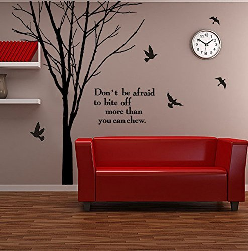 Bites Branch - Amz-decals Wall Art Decor Stickers Large Tree Branch Don't be Afraid to bite Off More Than You can chew for Living Room Bedroom Kids' Room