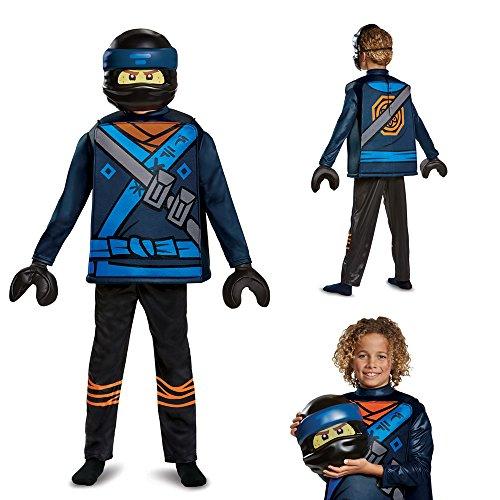 Disguise Jay Lego Ninjago Movie Deluxe Costume, Blue, Medium (7-8) -