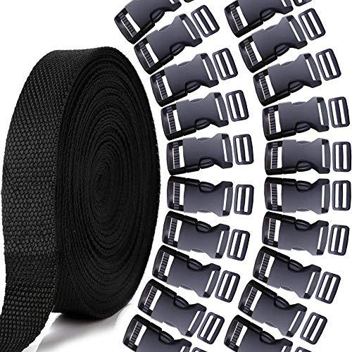 (YGDZ 1 Inch Plastic Buckles Kit, 20pcs 1 Inch Flat Side Release Buckles, 20pcs Tri-Glide Slides, and 1 Roll 13 Yards Nylon Webbing Straps for DIY Making Luggage Strap, Pet Collar, Backpack Repairing)