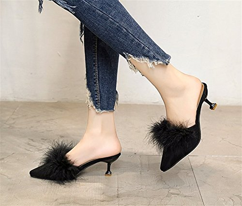 talons Demi Chaussures hauts Baotou Waichuan Chaussures Printemps Chaussons 35 Cheveux Tone Peluche Femmes Pantoufles Autruche Sandales En Fine Eté xie black 38 Femmes à Mode Conseils 1HzRaqwA6