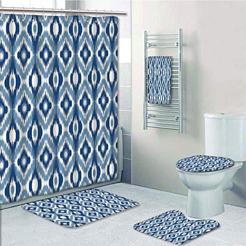 Bathroom 5 Piece Set Shower Curtain 3D Print Customized,Ikat,Ethnic Ikat Design with Regular Multi Shaft Loom Uneven Twill Trend Motif Decorative,Dark Blue and White,Graph Customization De ()