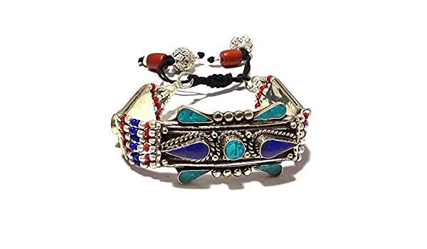 Nepali Work Jewelry Red Coral Sterling Silver Overlay 43 grams Bracelet 7-9 Blue Turquoise