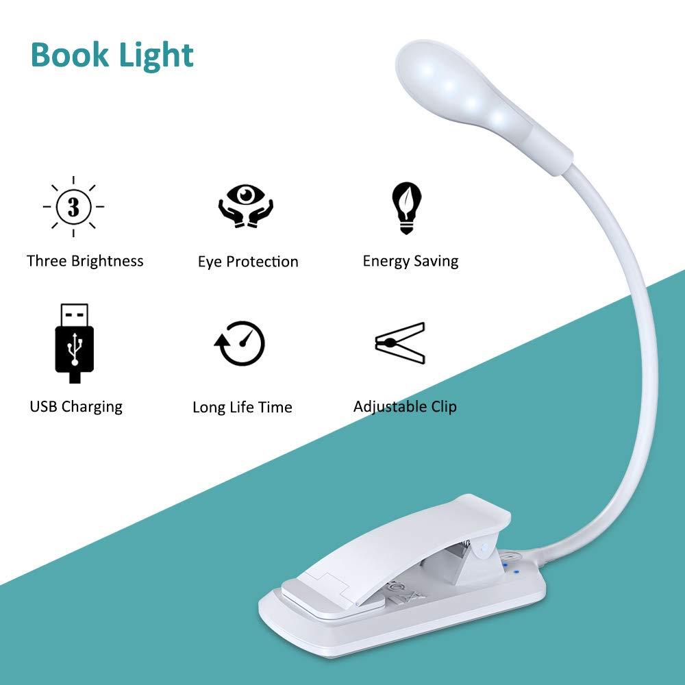Sensor T/áctil 7 LED Lampara Pinza Brillo Ajustable con USB Recargable E-Reader Kindle Luz Nocturna para Leer Libros en la Cama Lampara Lectura de 360/° Flexible con 3 Modos Cocoda Luz Lectura