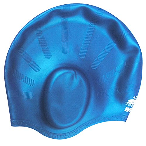 Micmall Swede Unisex Wrinkle-Free Silicone Lycra Solid Swim Cap Royal Blue ()