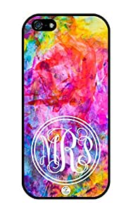 iZERCASE Monogram Personalized Colorful Art Pattern iphone 5 / iPhone 5S case - Fits iphone 5, iPhone 5S T-Mobile, AT&T, Sprint, Verizon and International (Black)