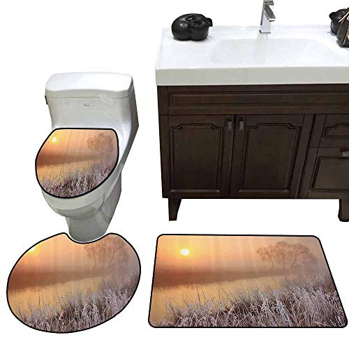 3 Piece Extended Bath mat Set Lake House Decor Collection Misty Dawn at Forest with Frost Lake Plants Sun Peaking Through The Horizon Pattern Rug Set Peach Cream Brown]()