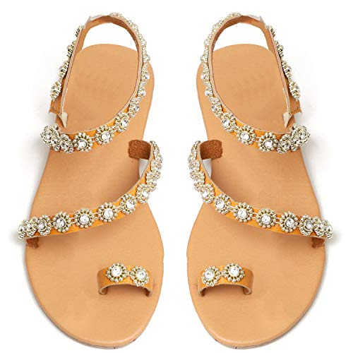 Women Summer Flat Sandals Crystal with Rhinestone Pearl Bohemia Toe Ring Casual Beaded Sandals Floral Plus Size (5 M US, Diamond Maple Yellow)]()