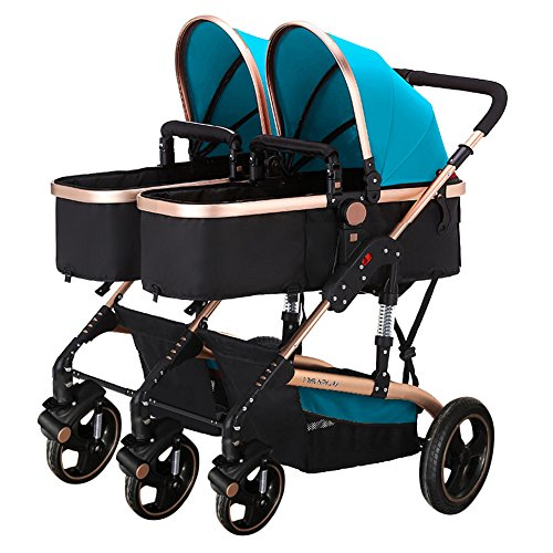 (Frjjthchy Abreast Ultralight Double Stroller Baby Twins Stroller Bassinet with Awning (Blue))