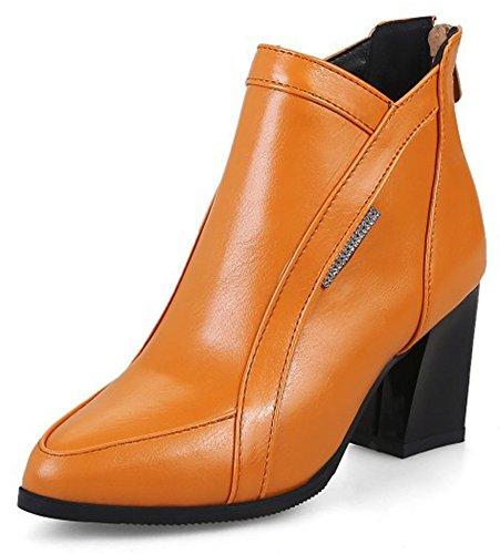 Aisun Womens Mode Habillé Zip Up Milieu Bloc Cheville Bottines Bout Pointu Bottines Chaussures Avec Fermeture À Glissière Brun
