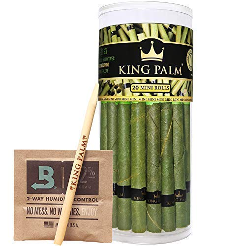 King Palm Mini Size Leafs | 20 Pack | Natural Slow Burning Pre-Rolled...