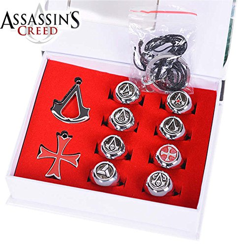 Colonial Costumes It Yourself - 10 pcs/set 3 Colors Assassins Creed Necklace Pendants Rings Gift Boxed Action Metal Figures Model Toys (Silver)