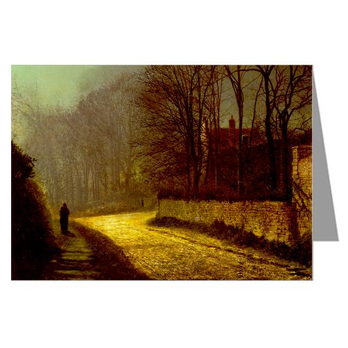 12 Vintage Notecard set of John Atkinson Grimshaw Victorian Painting of London Street Scene titled The Lovers